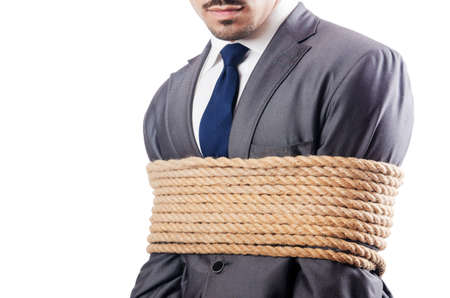 Man tied up with rope on white Stock Photo - 17390223