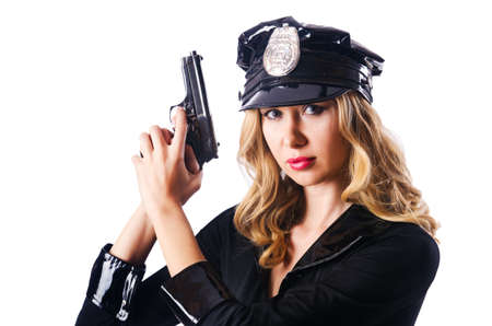 Young attractive woman police Stock Photo - 17412904