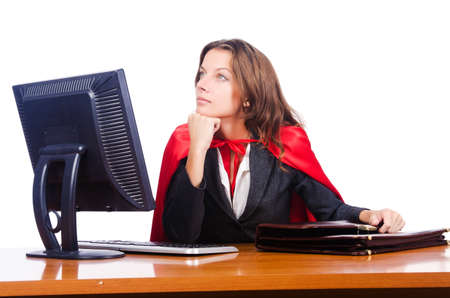 Superwoman worker working in office photo