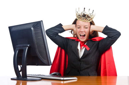 Superwoman worker with crown working in office Stock Photo - 17412907