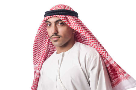 Diversity concept with arab on white Stock Photo - 17412912