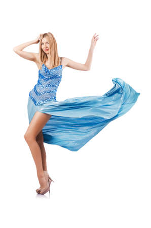 Attractive woman in blue dress on white Stock Photo - 17412871