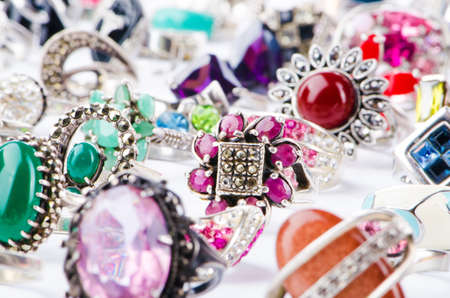 Collection of jewellery rings on white Stock Photo - 18013854