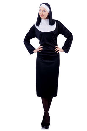 Nun isolated on the white background Stock Photo - 18037522
