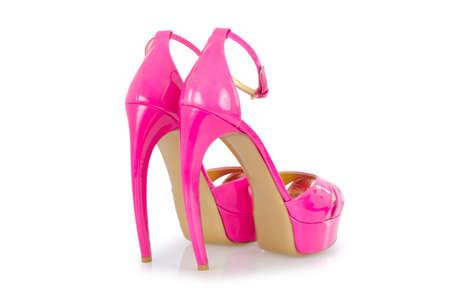 Pink stylish shoes isolated on white Stock Photo - 18010296