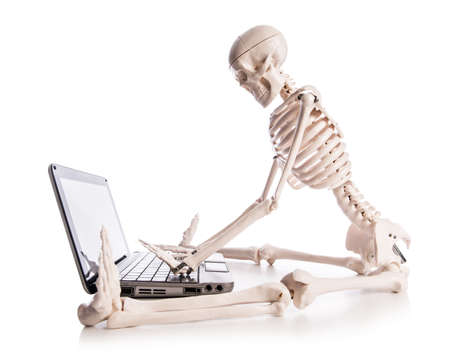 Skeleton working on laptop Stock Photo - 18012166