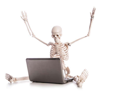 Skeleton working on laptop Stock Photo - 18012161