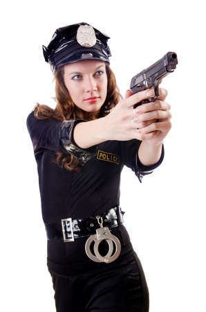 Female police isolated on the white Stock Photo - 18037449