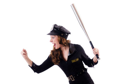 Female police isolated on the white Stock Photo - 18037437