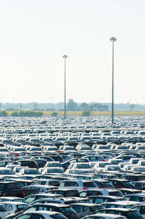 TUSCANY, ITALY - 27 June: New cars parked at distribution center in Tuscany, Italy. This one of biggest distribution centers in Italy. Stock Photo - 18017367