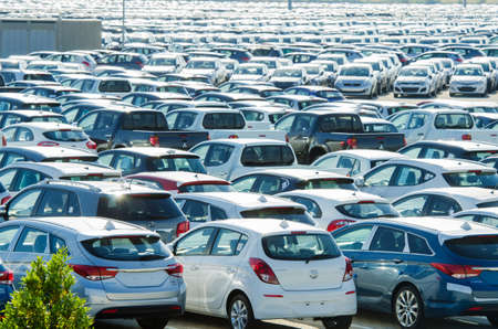 TUSCANY, ITALY - 27 June: New cars parked at distribution center in Tuscany, Italy. This one of biggest distribution centers in Italy. Stock Photo - 18017462