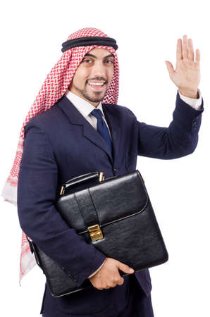 thoub: Arab businessman isolated on the white Stock Photo