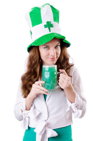 Young girl in saint patrick celebration concept Stock Photo - 18037624