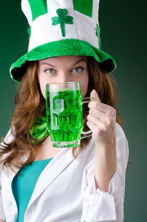 Young girl in saint patrick celebration concept Stock Photo - 18037095