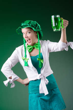 Young girl in saint patrick celebration concept Stock Photo - 18037714
