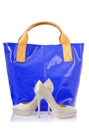 Elegant bag and shoes on white Stock Photo - 18012412