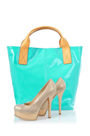 Elegant bag and shoes on white Stock Photo - 18012071
