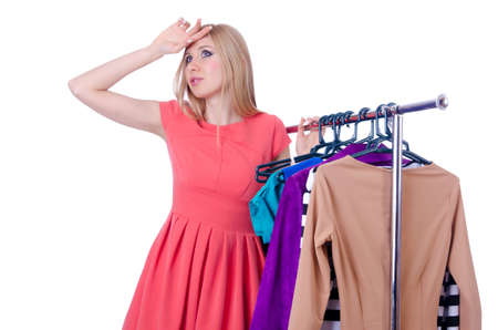 Woman trying new clothing on white Stock Photo - 18037478
