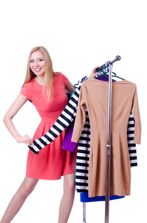 Woman trying new clothing on white Stock Photo - 18012191