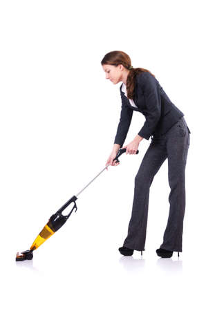 vacuum cleaning: Young woman doing vacuum cleaning Stock Photo