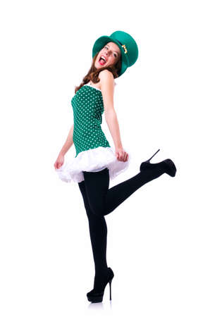 Young girl in saint patrick celebration concept Stock Photo - 18037639