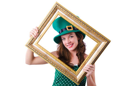 Young girl in saint patrick celebration concept Stock Photo - 18037610