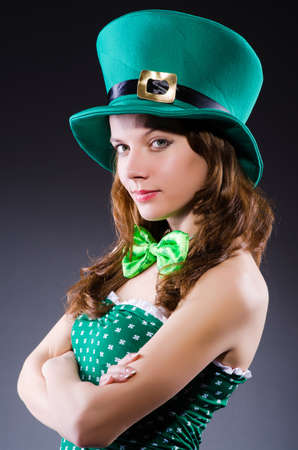 st  patricks' day: Young girl in saint patrick celebration concept