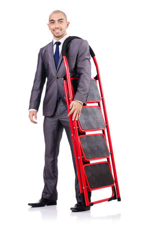 Businessman with the ladder isolated on white photo