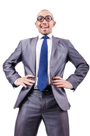 Nerd funny businessman on white Stock Photo - 18037059