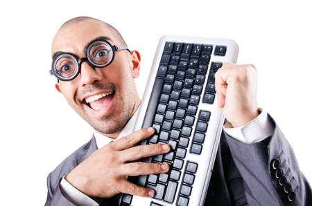 Nerd funny businessman on white Stock Photo - 18037194
