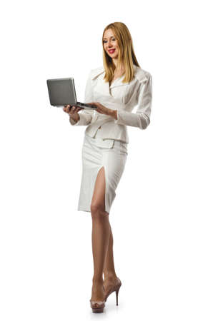 Attractive businesswoman with laptop on white Stock Photo - 18037436