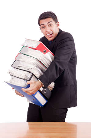 Young busy businessman at his desk Stock Photo - 18037625