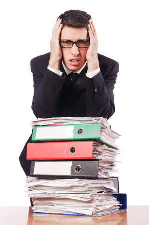 Young busy businessman at his desk Stock Photo - 18037628