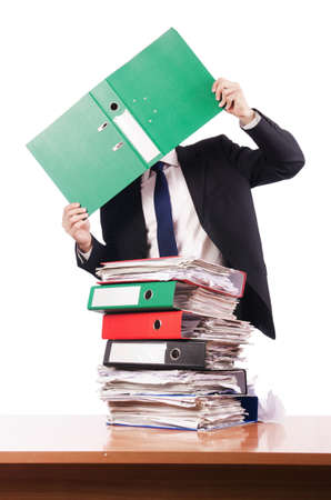 Young busy businessman at his desk Stock Photo - 18013283