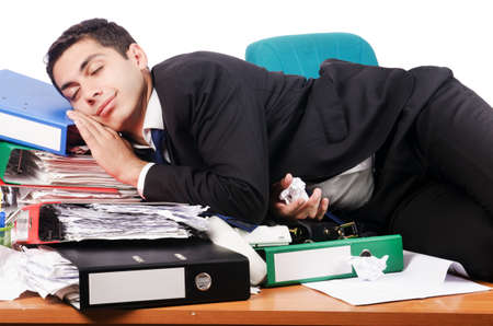 Young busy businessman at his desk Stock Photo - 18037145