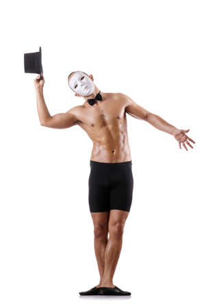 Naked muscular mime isolated on white Stock Photo - 18037680