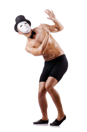 Naked muscular mime isolated on white Stock Photo - 18037232