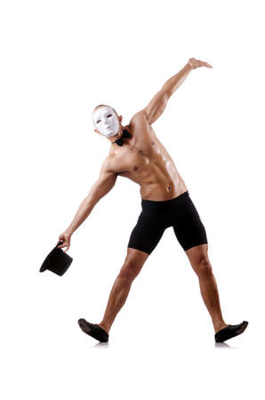 Naked muscular mime isolated on white Stock Photo - 18037664
