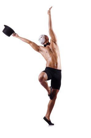 Naked muscular mime isolated on white Stock Photo - 18037513
