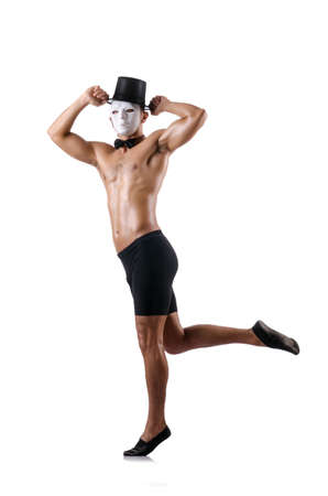 Naked muscular mime isolated on white Stock Photo - 18037512