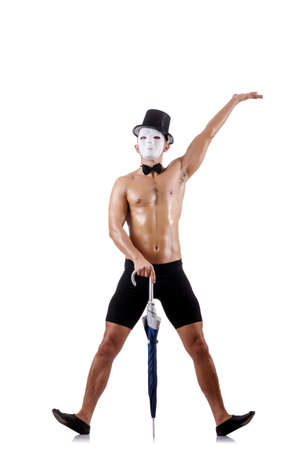 Naked muscular mime isolated on white Stock Photo - 18037660