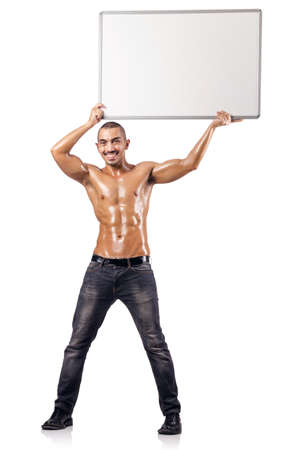 Half naked man with blank board Stock Photo - 18037316