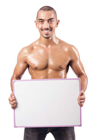 Half naked man with blank board Stock Photo - 18012230