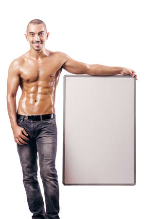 Half naked man with blank board Stock Photo - 18037609