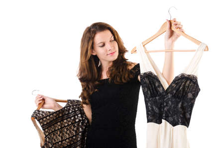 Young woman trying new clothing on white Stock Photo - 18037603