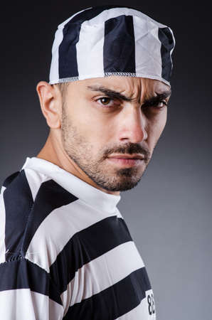 Convict criminal in striped uniform Stock Photo - 18037039