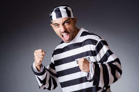 Convict criminal in striped uniform Stock Photo - 18037030