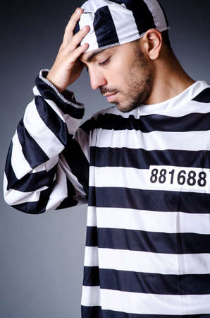 Convict criminal in striped uniform Stock Photo - 18037025