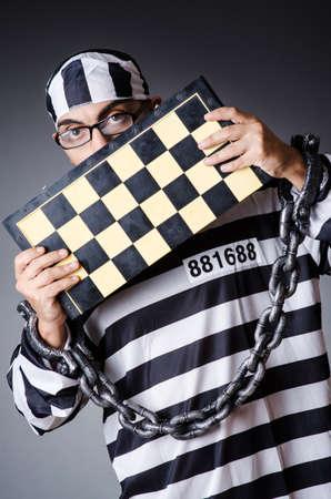 Convict criminal in striped uniform Stock Photo - 18037032