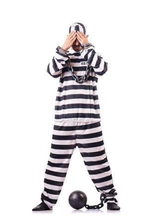 Convict criminal in striped uniform Stock Photo - 18037276
